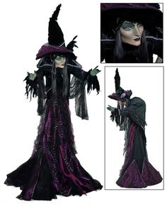 "Katherine's Collection Midnight Magic Halloween Collection Approx 60"" Minerva Discordia Witch Display Doll Free Ship"