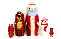 Matryoshka - Nesting dolls - Christmas  - Cute Santa - Cute Reindeer Rudolf - Cute Snowman - Cute GingerBread Man - Cute little Christmas bird  °ººº°¨¨¨¨¨¨°ººº°¨¨¨¨¨¨¨¨¨¨¨°¨¨¨¨¨°ººº°¨¨¨¨¨¨°ººº°¨¨¨¨¨¨¨¨¨¨¨°¨¨¨¨¨°ººº°¨¨¨¨¨¨°ººº **Notes  * Ships next day from California - US customers will get it in 2-5 days Priority Mail - 1-3 days. Fast and Secure shipment. Great Service provided.  * Amazing detailed painting. The Masterpiece of Nesting dolls! * Exclusive Christmas Collection - Great gift…
