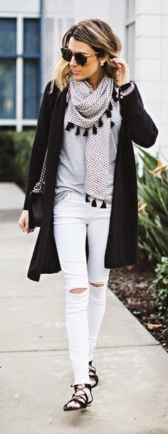 white jeans, long cardigan long cardi, black cardi grey tee tshirt, printed scarf fringe pomp pons summer to fall dressing hamptons weekend brunch
