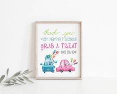 Drive By Treat Favors Sign Printable, Thank You For Driving Through Treat Sign, Birthday Parade Treat Sign, Social Distancing Party, Party Signs, Favors, Printables, Treats, Birthday, Frame, Etsy, Sweet Like Candy, Picture Frame