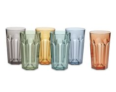 DuraClear® Faceted Glass Tumblers, 17 Oz., Set of 6, Dark Blue - William Sinoma