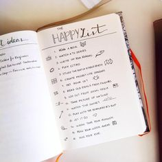 Bullet Journal Happy List - List of ideas to help cheer yourself up in moments of sadness - Bullet Journaling in BuJo or Planner