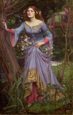 Ophelia - John William Waterhouse.  I love the coloring and the trim on her dress.  She doesn't look the least bit nutty to me.   Yet.