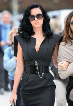 A more dramatic shoulder version of the LM StyleBar Donatella Neoprene Dress. @KatyPerry can make a garbage bag look good...