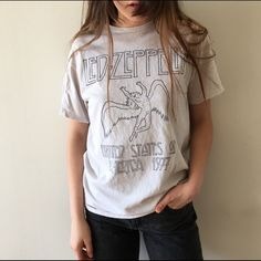 Led Zeppelin Graphic T shirt Tan Led Zeppelin graphic to shirt. Has a destressed finish for that vintage look! ⚡️ Brandy Melville Tops Tees - Short Sleeve