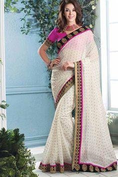 Cotton White, Pink Classy Stylish saree