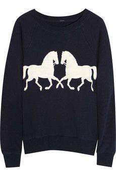 Horsing Around Cotton Sweatshirt   JCrew
