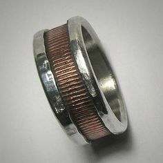 Rustic wedding band for men or women - custom handmade mixed metalwork men's engagement ring -…
