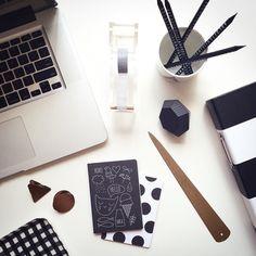 B&W + Copper Office Accessories, Notebooks by Pei Design