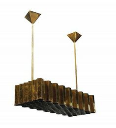 Jules Wabbes; Brass Honeycomb Ceiling Light, c1960.
