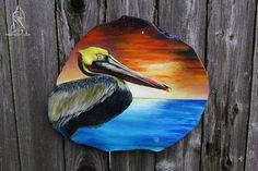 Hand Painted Louisiana Cypress Tree Round Gulf Coast Brown Pelican by SkintKnees on Etsy Cypress Knees, Gourds, Louisiana, Nautical, Coast, Hand Painted, Chesapeake Bay, Fine Art, Bird