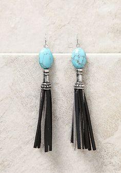 Silver and Black Stone Chain Tassel Earrings