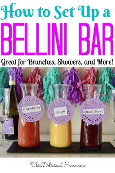 How to set up a Bellini Bar! Move over Mimosa, check out this fun alternative and host a fruit puree and prosecco Bellini bar for your next brunch, baby shower, bridal shower, or Mother's Day! #bellinibar #brunchcocktail