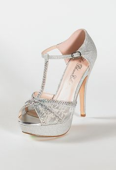 High Heel Glitter Sandal with Mesh and Stones from Camille La Vie and Group USA