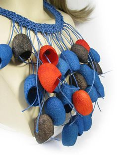 necklace silk cocoon  Colored necklaceUnusual Silk