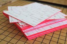 Ladyfingers Letterpress Neon Hand Lettering Wedding Invitations Edge Painting 550x366 Arley Rose + Morgans Neon Wedding Invitations