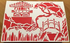 Hand done paper cut out of Japanese Garden. Created by Admiral Salt