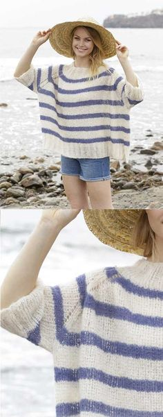Free Knitting Pattern for a Riviera Stripes Sweater