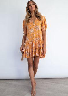Ocean Cove Dress - Mystic Marigold Cold Hands, Cuff Sleeves, Gingham, Coastal, Floral Prints, Bring It On, Neckline, Ocean, Boho