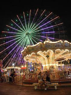 Amusement park at Nagoya Port, Japan © pochi 名古屋シートレインランド Ulzzang, Merry Go Round, Carnivals, Nagoya, Amusement Park, Headers, Scenery, Fair Grounds, Wattpad