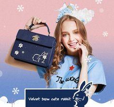 Velvet Snow Rabbit Flap Bag