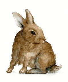 Rabbit - No.1, Fine Art Original watercolor, Pen and Ink. $68.00, via Etsy.