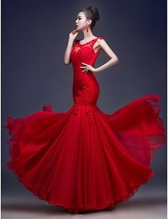 Formal Evening Dress - Ruby Trumpet/Mermaid Scoop Floor-length Chiffon/Lace – USD $ 71.24