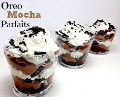 "Oreo Mocha Parfaits recipe.  Instant pudding and ""whipped topping"" for instant gratification, or I can imagine a ""slow"" pudding and whipped cream for a more decadent treat..."
