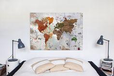 Grunge Map  #InteriorDesign #travel #WorldOnCanvas #Maps