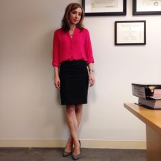 """""""This Tuesday has me pulling major Resting Bitch Face. Top and skirt are #thelimited, shoes are #anntaylor. #lawyerfashion #lawyerstyle #workwear…"""""""