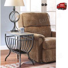 Modern-Chairside-End-Table-Metal-Frame-Desk-Top-Natural-Slate-Tile-Home-Design