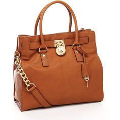 Women's MICHAEL Michael Kors Hamilton Large Tote, Luggage ($358) ❤ liked on Polyvore