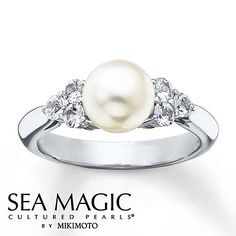 350576207 - Cultured Pearl Ring Natural White Sapphir…