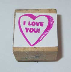 I Love You Rubber Stamp Conversation Heart Candy Valentine Regular Wood Mounted #Unbranded #CandyHeart