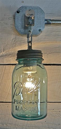 Ball Jar Light via Funky Junk Interiors Modern Lighting: The Mason Jar, 10 Ways Mason Jar Sconce, Mason Jar Lighting, Mason Jars, Canning Jars, Canning Jar Lights, Funky Junk Interiors, Deco Luminaire, Ideias Diy, Deco Design