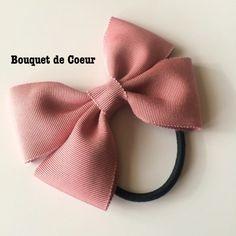 ハンドメイド♡ シンプルオフィスリボンゴム♡ ベージュ&ローズピンク  http://s.ameblo.jp/bouquet-de-coeur/  Handmade ribbon hair accessory