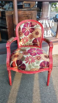 Sassy Vintage Custom Painted And Distressed Newly Upholstered Bubble Gum Side Chair by FunkyBuda on Etsy https://www.etsy.com/listing/191696454/sassy-vintage-custom-painted-and