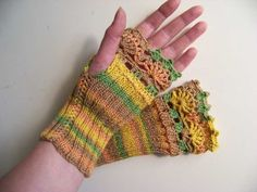 Sunny yellow cotton wool knitted gloves with lace crochet trim C291 | Berniolie - Knitting on ArtFire