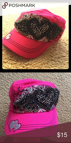 Pink hat Hot pink hat with bling heart and wings on front. Worn a couple times. Accessories Hats