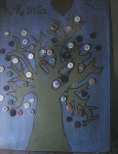 Arbol Con Botones Re lindo Materiales.. Botones Acrilico Azul -  Marron