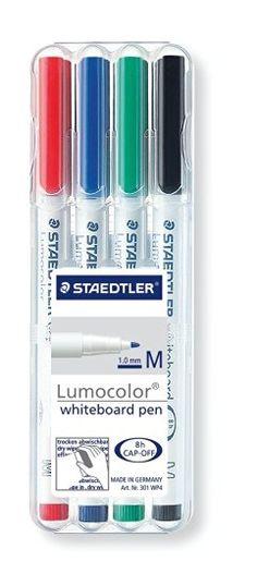 Staedtler 301 Lumocolor Drywipe/Whiteboard Pen - Assorted, Pack of 4