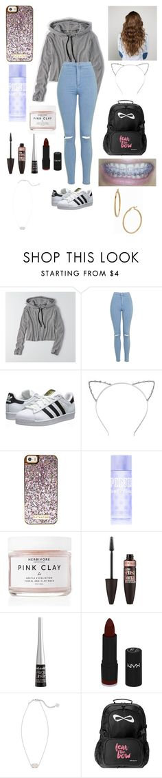 """Got my braces colors changed today!"" by one-of-those-nights ❤ liked on Polyvore featuring American Eagle Outfitters, Topshop, adidas Originals, CO, Victoria's Secret PINK, Herbivore, Maybelline, Wet n Wild, NYX and Kendra Scott"