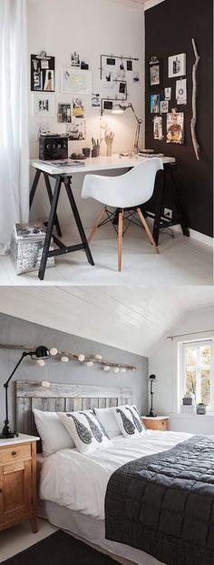Zona de oficina y dormitorio decorados en blanco y negro.