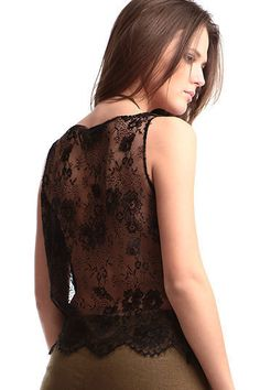 Secret Pal silk top black lace in the back by thesecretPal on Etsy, $195.00