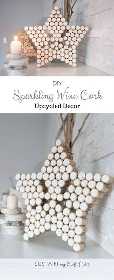 DIY decorative star and Christmas tree crafts upcycled from wine bottle corks. A lovely gift idea that's beautiful on its own or could be used as a pot holder on the kitchen table. Click through for the full tutorial for this home decor project.:
