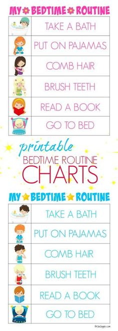 Unusual image pertaining to bedtime routine chart printable