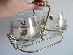 Mid Century Modern Libbey's Gold Leaf Frosted by myTreasureNook