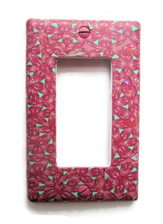 Rocker Switchplate, Single Switch Plate with Pink and Mint Green Repeated Pattern by marcympc. Explore more products on http://marcympc.etsy.com