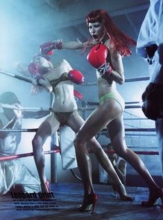 """""""Knock Out"""": Raquel Zimmermann and Michelle Alves Boxing by Steven Meisel for Vogue Italia"""