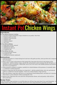 Instant Pot Chicken Recipes For Easy Weeknight Dinners - simple Instant Pot parmesan chicken wings recipe for easy meals or easy party appetizers